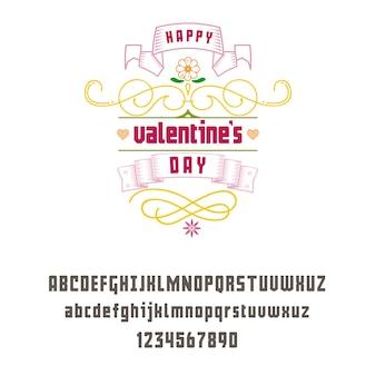 Latin alphabet geometric - valentine's day sign.