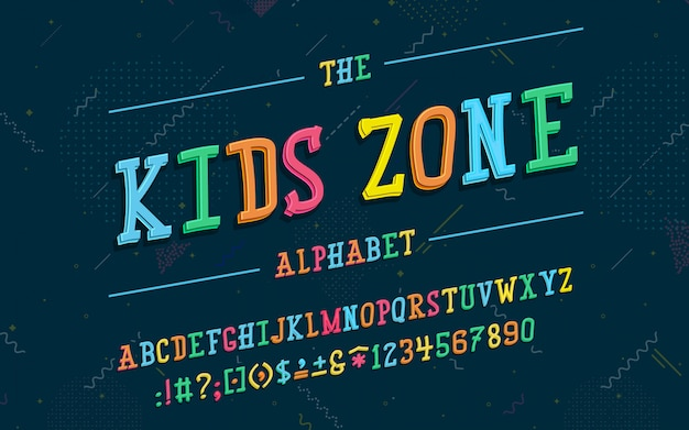 Latin alphabet. kids zone font in cute cartoon 3d style. for your design