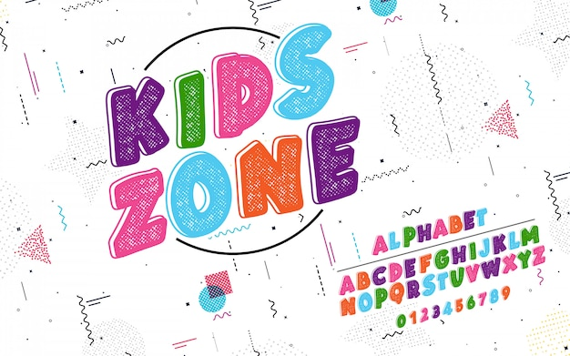 Latin alphabet. kids zone font
