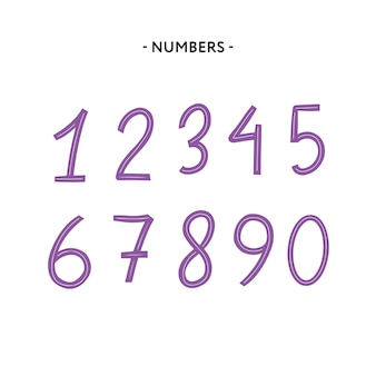 Latin alphabet numbers from 1 to 0