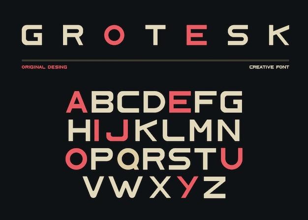 Latin alphabet, sans serif font in grotesk style