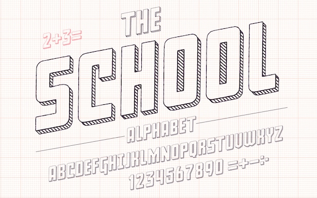 Latin alphabet - school font in cute sketch 3d style.