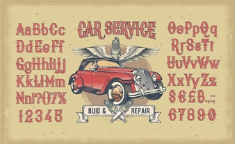 Latin alphabet with numbers and retro car