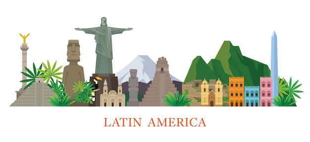 Latin america landmarks illustration