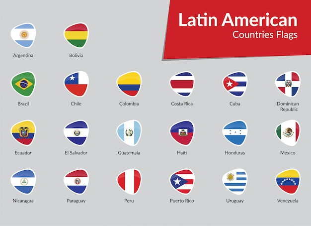 Latin american flags icon collection