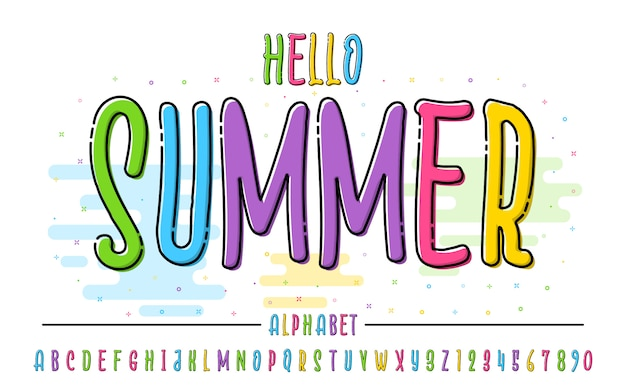 Latin color alphabet. hello summer font in cute cartoon flat style. for your design