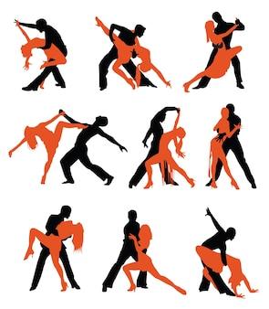 Силуэты латинских танцоров на белом фоне