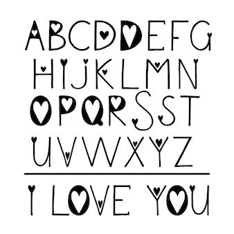 Latin handwritten alphabet with hearts