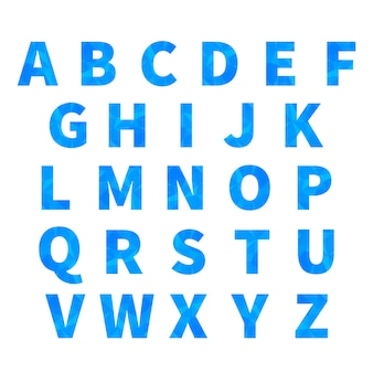 Latin letters with blue triangulated pattern on white