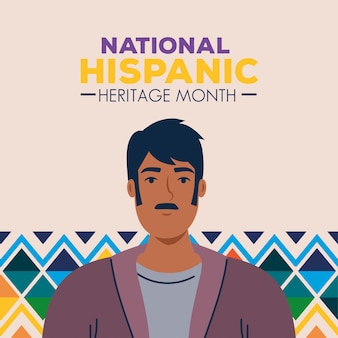 Latin man cartoon with colored shapes design, national hispanic heritage month and culture theme