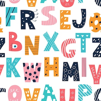 Latin multicolored alphabet in the style of doodles on a white background vector seamless pattern