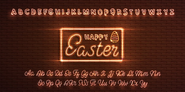 Latin neon font happy easter.