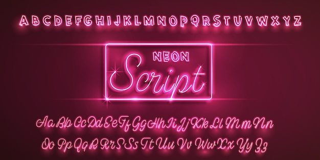 Latin neon font.