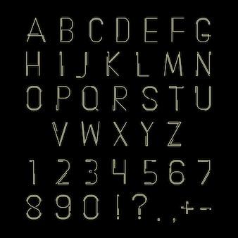 ラテンの細い線のアルファベット