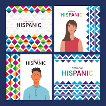 Latin woman and man cartoons with colored shapes design, national hispanic heritage month and culture theme