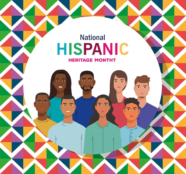 Latin women and men cartoons with colored shapes design, national hispanic heritage month and culture theme