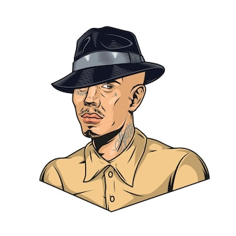 Latino man with tattoos in fedora hat in vintage style isolated vector illustration
