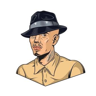 Латиноамериканец с татуировками в шляпе-федоре в винтажном стиле изолировал векторную иллюстрацию