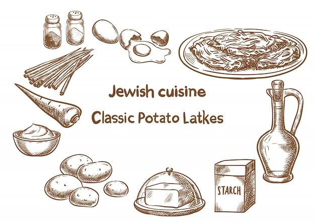 Классические ингредиенты картофеля latkes