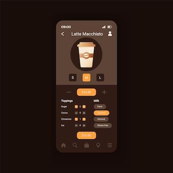 라떼 마끼아또 준비 스마트폰 인터페이스 벡터 템플릿입니다. 완벽한 커피를 만듭니다. 모바일 앱 페이지 디자인 레이아웃입니다. 코코넛 스크린으로 에스프레소를 선택합니다. 응용 프로그램에 대한 평면 ui. 전화 디스플레이