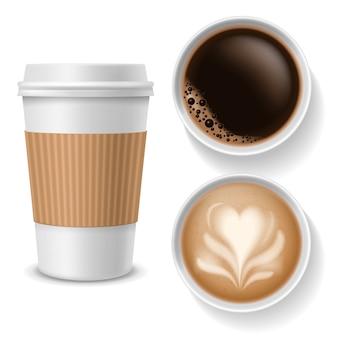 Кофейные чашки на вынос. напитки взгляд в бумажной белой, коричневой кофейной чашке с latte эспрессо американо капучино. реалистичный вектор