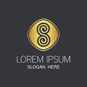 後半sゴールデンロゴ。創造的な抽象的なsロゴデザイン。