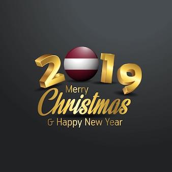 Флаг латвии 2019 счастливого рождества типография