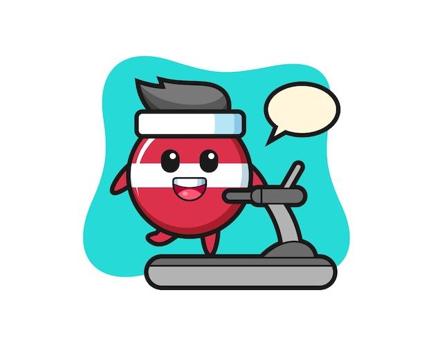 러닝머신 위를 걷는 라트비아 국기 배지 만화 캐릭터, 티셔츠, 스티커, 로고 요소를 위한 귀여운 스타일 디자인