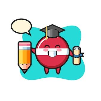 ラトビアの国旗バッジイラスト漫画は巨大な鉛筆、tシャツ、ステッカー、ロゴ要素のかわいいスタイルのデザインで卒業です