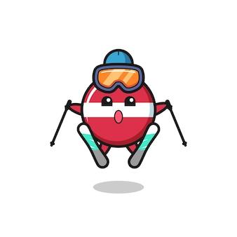 스키 선수로서의 라트비아 국기 배지 마스코트 캐릭터, 티셔츠, 스티커, 로고 요소를 위한 귀여운 스타일 디자인