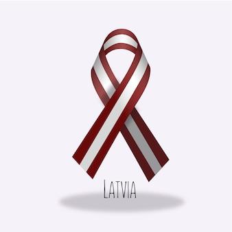 Latvia flag ribbon design