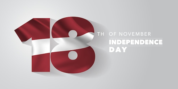 Latvia independence day greeting card, banner, vector illustration. latvian national day 18th of november background with elements of flag