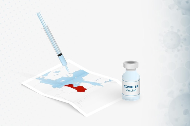 라트비아 예방 접종, 라트비아 지도의 covid-19 백신 주사.