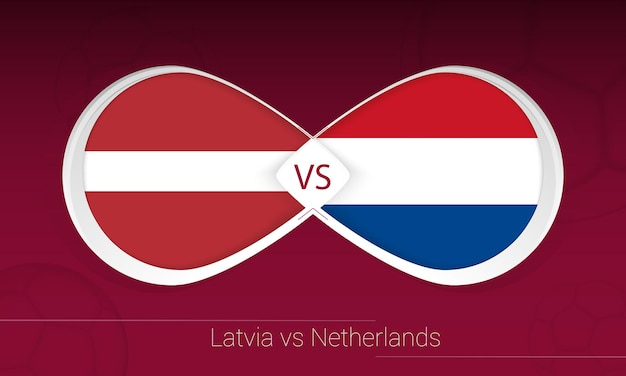 Латвия против нидерландов в футбольном соревновании, группа g. versus значок на футбольном фоне.