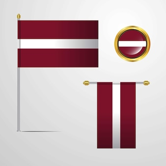 Latvia waving flag design with badge vector