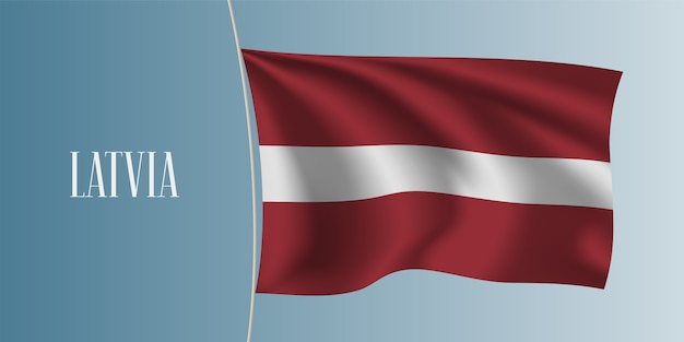 ラトビアの旗イラストを振る