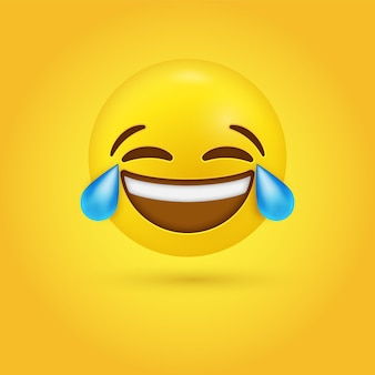 Laughing crying emoji face with tears of joy or funny lol emotion - 3d character