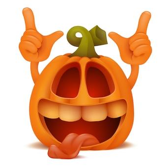 Laughing halloween pumpkin jack lantern emoticon cartoon character.