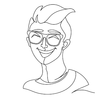 Laughing man in eyeglasses portrait one line art. happy male facial expression. hand drawn linear man silhouette.
