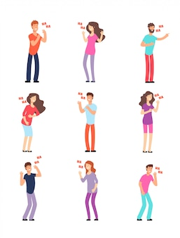Laughing people. adults and teenagers in hysterical loud laughter. cartoon vector isolated characters