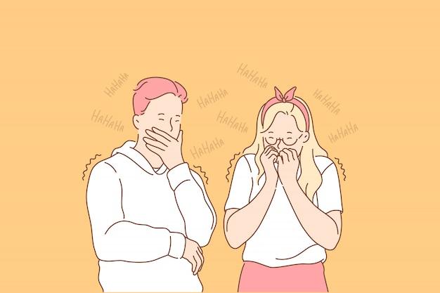 笑う人、肯定的な感情の概念