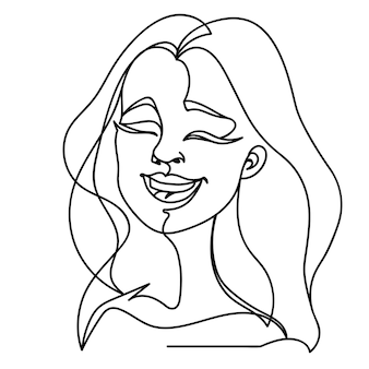 Laughing woman one line art portrait. happy female facial expression. hand drawn linear woman silhouette.