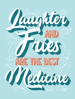 Смех и картофель фри - лучший векторный шаблон дизайна медицины типографики