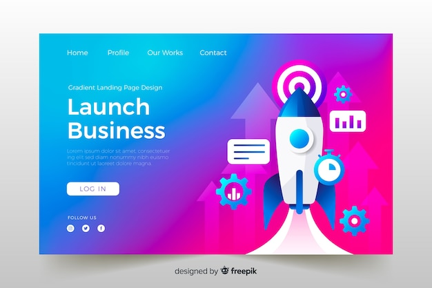 Launch business gradient landing page