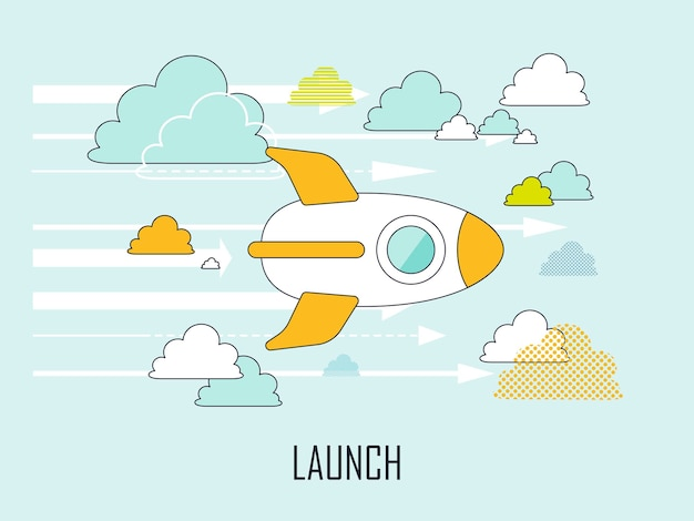 Launch concept: a rocket flying up to the air in line style