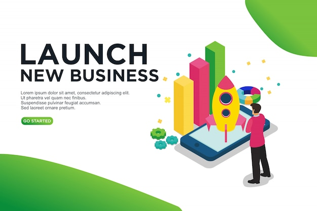 Launch new business isometric vector illustration concept