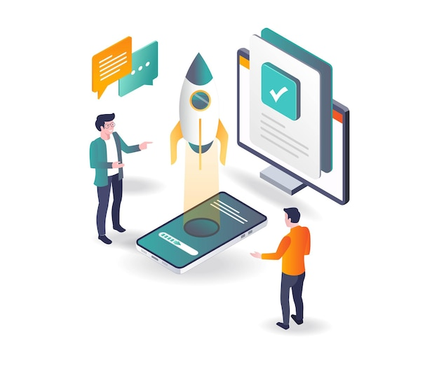 Launch new product app and test in isometric illustration