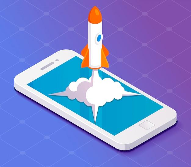 モバイルアプリケーションの起動は、等角投影図です。ロケット打ち上げ。飛行の離陸段階、空中軌道宇宙飛行、ビジネスのスタートアップのシンボル。紫色の背景のイラスト。