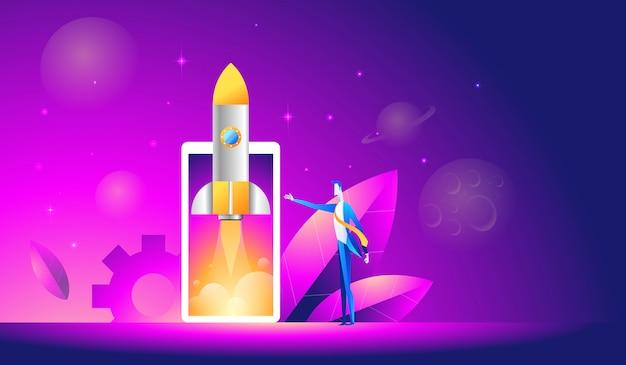 Запуск мобильного приложения - изометрическая иллюстрация. взлет ракеты или космического корабля по мобильному телефону