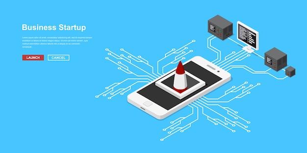 モバイルアプリケーションの起動または新しいスタートアップ。携帯電話からのロケットまたは宇宙船の離陸。新しいビジネス、サービス、または製品の開始のためのアイソメトリックスタイルのコンセプトバナー。